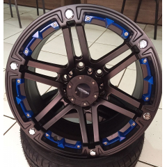 "Roda Aro 17 - AS Wheels Atacama (6x139) Tala 9"" aplique azul"